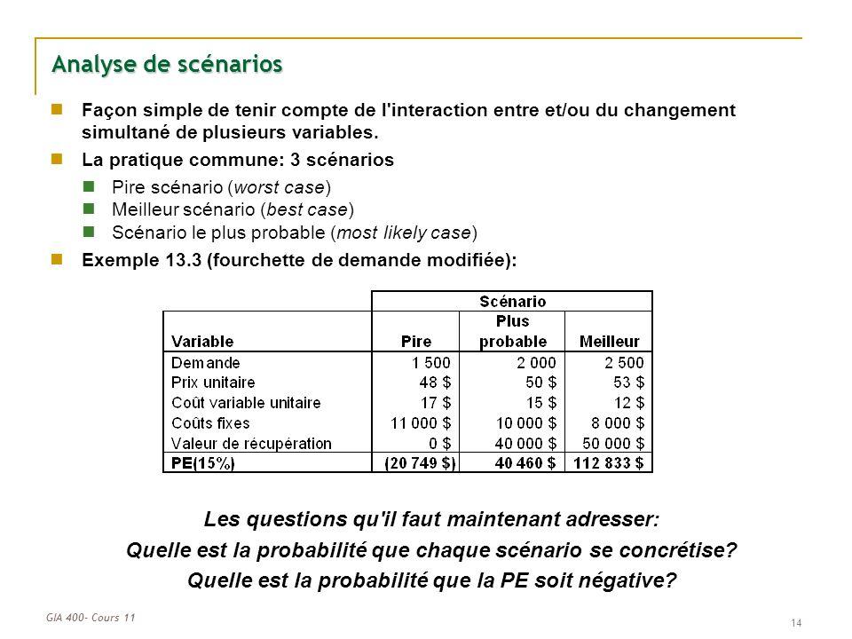 GIA 400- Cours 11 14 Analyse de scénarios Façon simple de tenir compte de l'interaction entre et/ou du changement simultané de plusieurs variables. La