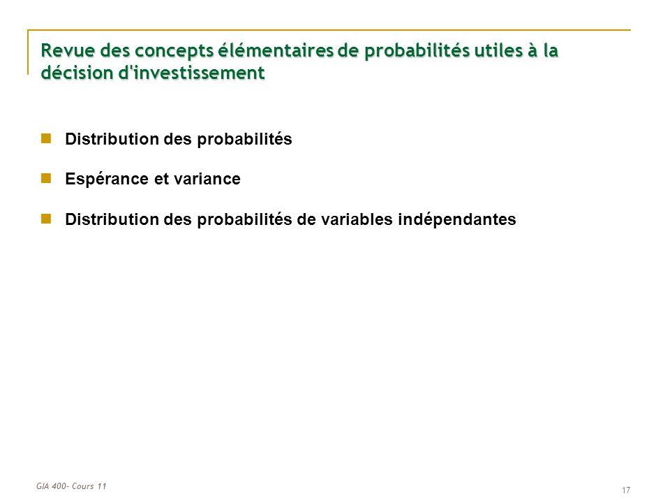 GIA 400- Cours 11 17 Revue des concepts élémentaires de probabilités utiles à la décision d investissement Distribution des probabilités Espérance et variance Distribution des probabilités de variables indépendantes