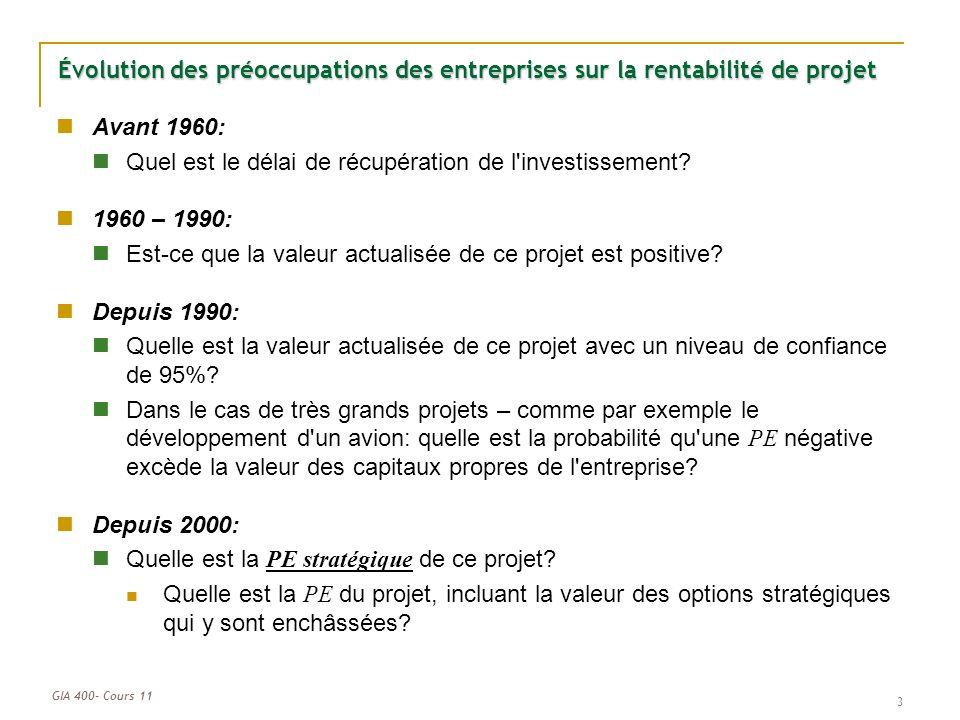 GIA 400- Cours 11 3 Évolution des préoccupations des entreprises sur la rentabilité de projet Avant 1960: Quel est le délai de récupération de l investissement.
