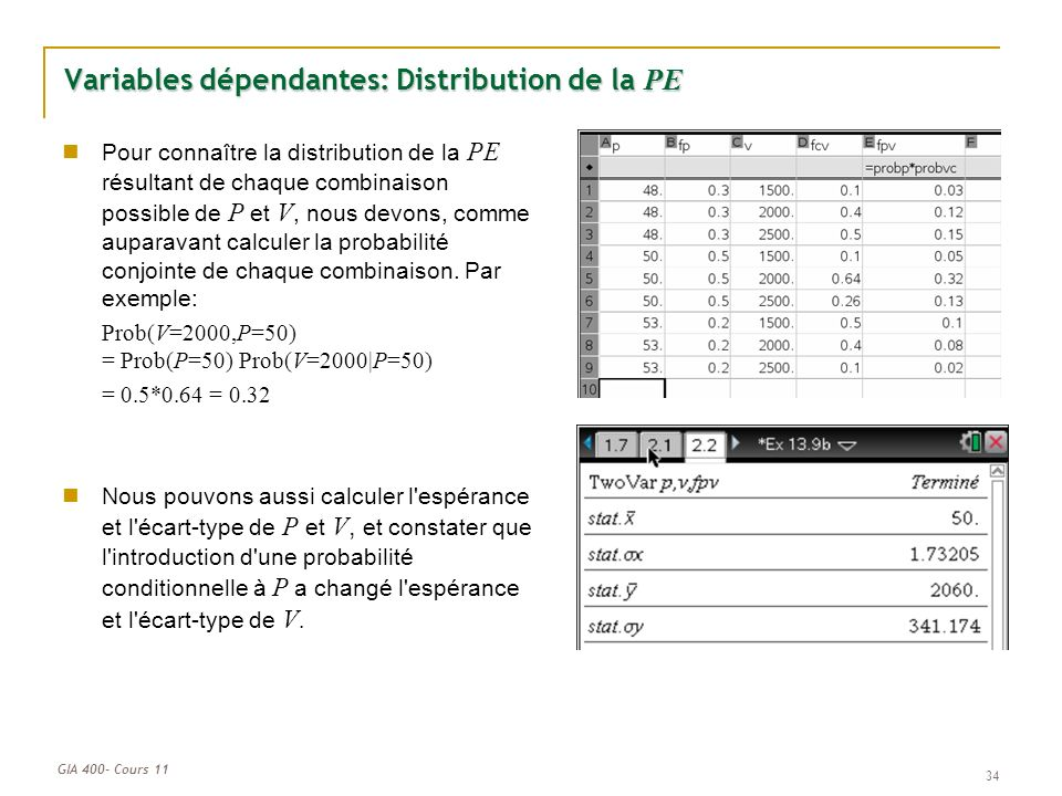GIA 400- Cours 11 34 Variables dépendantes: Distribution de la PE Pour connaître la distribution de la PE résultant de chaque combinaison possible de P et V, nous devons, comme auparavant calculer la probabilité conjointe de chaque combinaison.