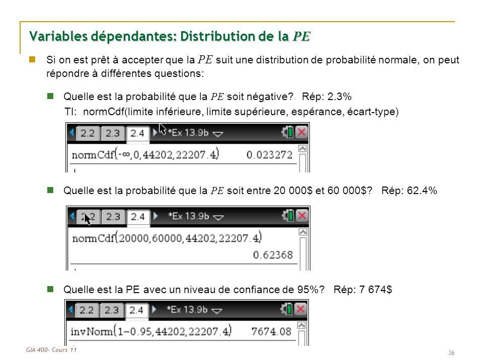 GIA 400- Cours 11 Variables dépendantes: Distribution de la PE 36 Si on est prêt à accepter que la PE suit une distribution de probabilité normale, on peut répondre à différentes questions: Quelle est la probabilité que la PE soit négative.