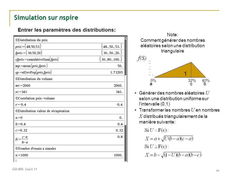 GIA 400- Cours 11 44 Simulation sur nspire Entrer les paramètres des distributions: Note: Comment générer des nombres aléatoires selon une distribution triangulaire 32%40%0% f(S) 1 acb Générer des nombres aléatoires U selon une distribution uniforme sur l intervalle (0,1) Transformer les nombres U en nombres X distribués triangulairement de la manière suivante: