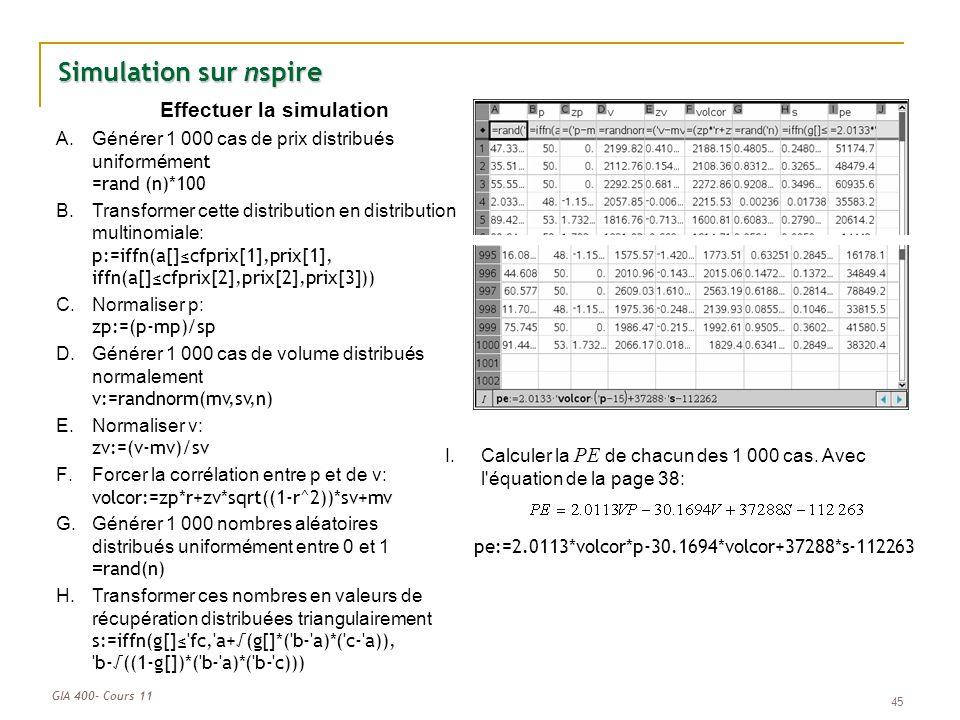 GIA 400- Cours 11 45 Simulation sur nspire Effectuer la simulation A.Générer 1 000 cas de prix distribués uniformémen t =rand (n)*100 B.Transformer cette distribution en distribution multinomiale: p:=iffn(a[]cfprix[1],prix[1], iffn(a[]cfprix[2],prix[2],prix[3])) C.Normaliser p: zp:=(p-mp)/sp D.Générer 1 000 cas de volume distribués normalement v:=randnorm(mv,sv,n) E.Normaliser v: zv:=(v-mv)/sv F.Forcer la corrélation entre p et de v: volcor:=zp*r+zv*sqrt((1-r^2))*sv+mv G.Générer 1 000 nombres aléatoires distribués uniformément entre 0 et 1 = rand(n) H.Transformer ces nombres en valeurs de récupération distribuées triangulairement s:=iffn(g[] fc, a+(g[]*( b- a)*( c- a)), b-((1-g[])*( b- a)*( b- c))) I.Calculer la PE de chacun des 1 000 cas.