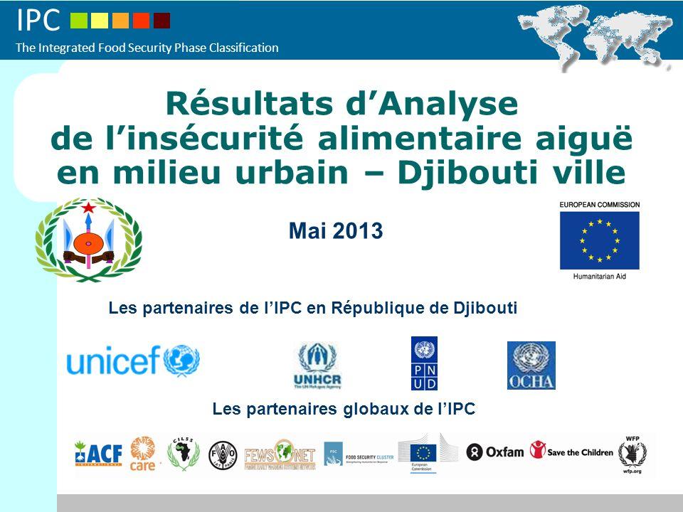 IPC The Integrated Food Security Phase Classification Résultats dAnalyse de linsécurité alimentaire aiguë en milieu urbain – Djibouti ville Mai 2013 Les partenaires de lIPC en République de Djibouti Les partenaires globaux de lIPC