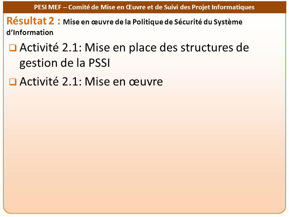 PESI MEF – Comité de Mise en Œuvre et de Suivi des Projet Informatiques Résultat 2 : Mise en œuvre de la Politique de Sécurité du Système dInformation