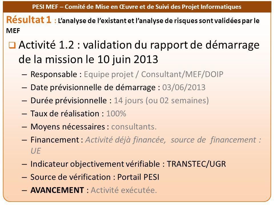 PESI MEF – Comité de Mise en Œuvre et de Suivi des Projet Informatiques Résultat 1 : Lanalyse de lexistant et lanalyse de risques sont validées par le