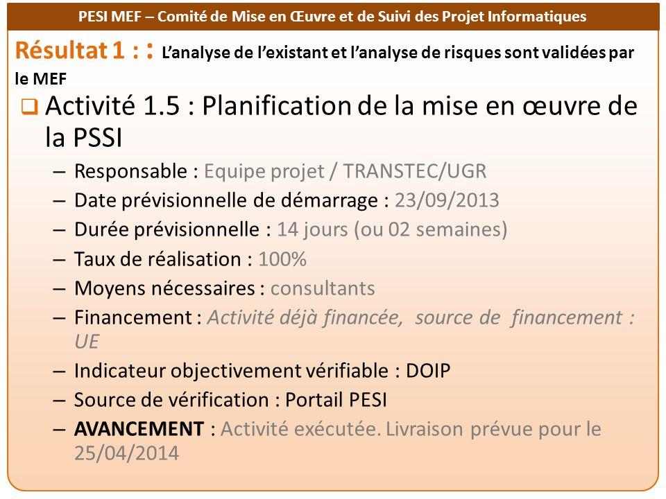 PESI MEF – Comité de Mise en Œuvre et de Suivi des Projet Informatiques Résultat 1 : : Lanalyse de lexistant et lanalyse de risques sont validées par