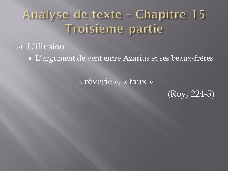 Lillusion Largument de vent entre Azarius et ses beaux-frêres « rêverie », « faux » (Roy, 224-5)