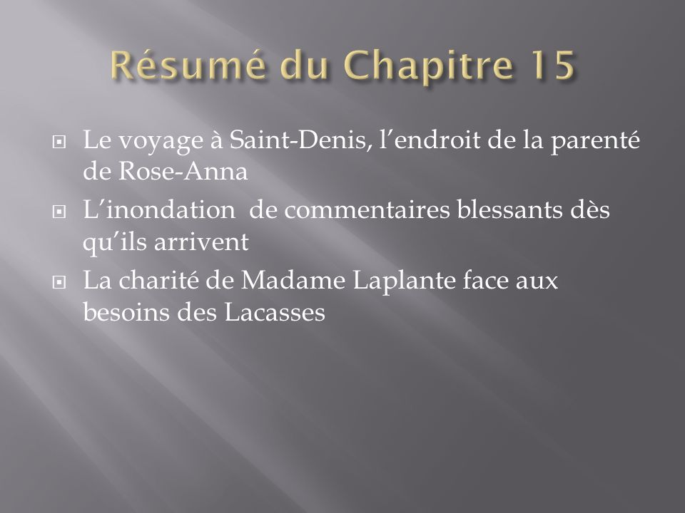 Le voyage à Saint-Denis, lendroit de la parenté de Rose-Anna Linondation de commentaires blessants dès quils arrivent La charité de Madame Laplante face aux besoins des Lacasses