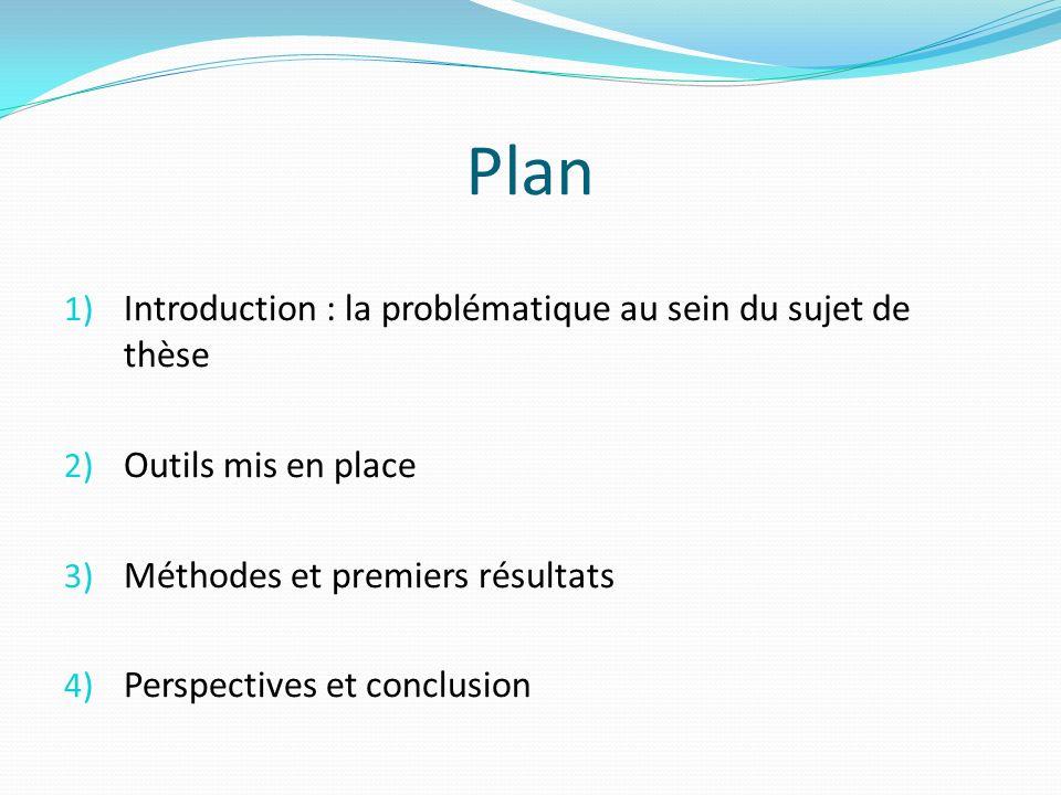 Plan 1) Introduction : la problématique au sein du sujet de thèse 2) Outils mis en place 3) Méthodes et premiers résultats 4) Perspectives et conclusi