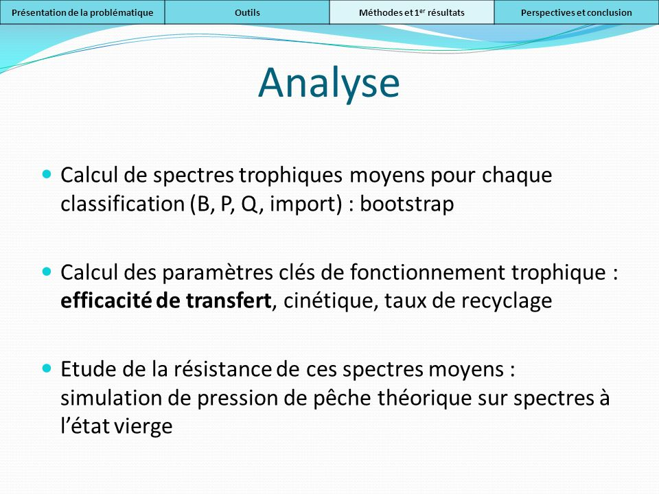 Analyse Calcul de spectres trophiques moyens pour chaque classification (B, P, Q, import) : bootstrap Calcul des paramètres clés de fonctionnement tro