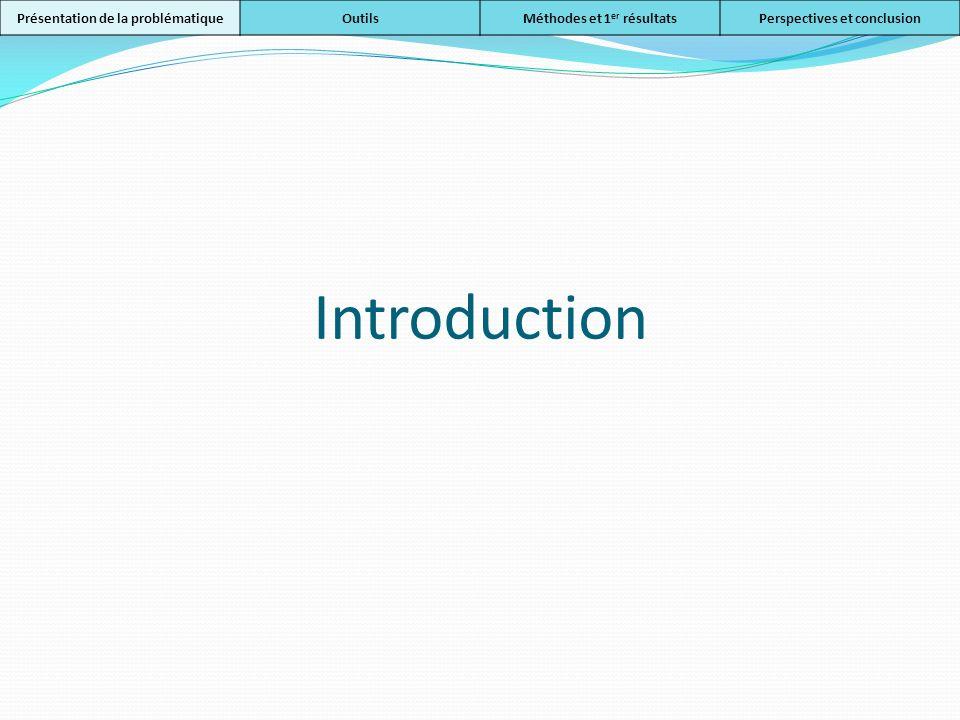 Introduction Présentation de la problématiqueOutilsMéthodes et 1 er résultatsPerspectives et conclusion
