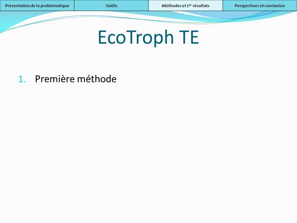 EcoTroph TE 1. Première méthode Présentation de la problématiqueOutilsMéthodes et 1 er résultatsPerspectives et conclusion