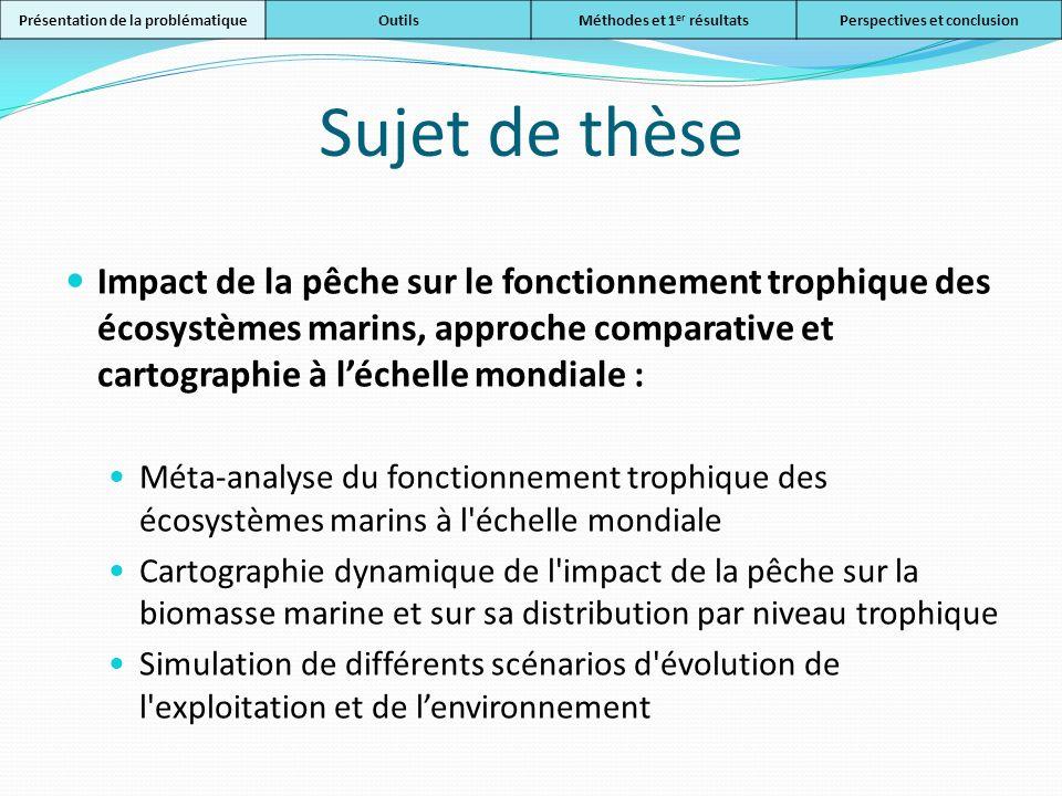 Sujet de thèse Impact de la pêche sur le fonctionnement trophique des écosystèmes marins, approche comparative et cartographie à léchelle mondiale : M