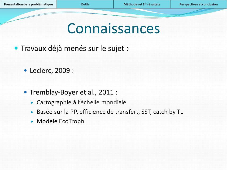 Connaissances Travaux déjà menés sur le sujet : Leclerc, 2009 : Tremblay-Boyer et al., 2011 : Cartographie à léchelle mondiale Basée sur la PP, effici