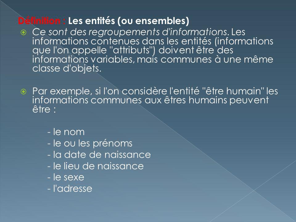 Définition : Les entités (ou ensembles) Ce sont des regroupements d'informations. Les informations contenues dans les entités (informations que l'on a