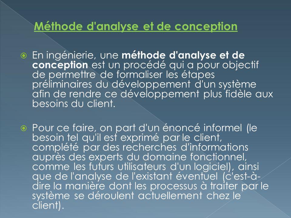En ingénierie, une méthode d'analyse et de conception est un procédé qui a pour objectif de permettre de formaliser les étapes préliminaires du dévelo