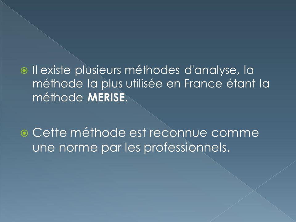 Il existe plusieurs méthodes d'analyse, la méthode la plus utilisée en France étant la méthode MERISE. Cette méthode est reconnue comme une norme par