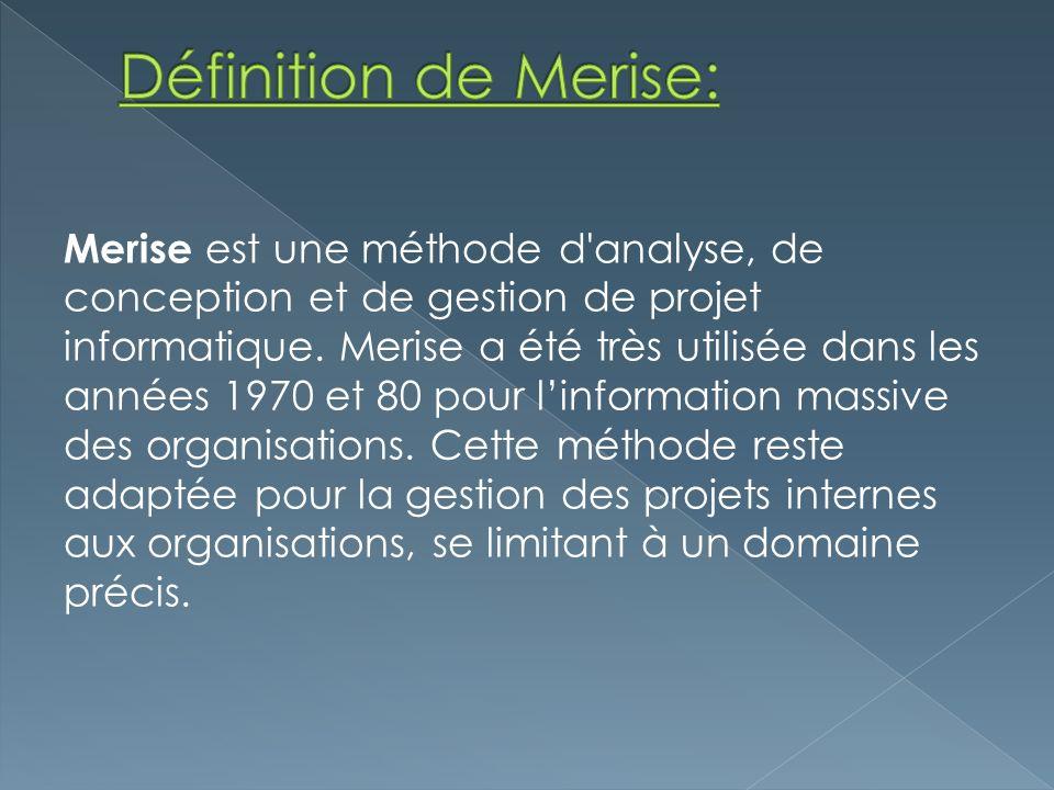 Merise est une méthode d'analyse, de conception et de gestion de projet informatique. Merise a été très utilisée dans les années 1970 et 80 pour linfo