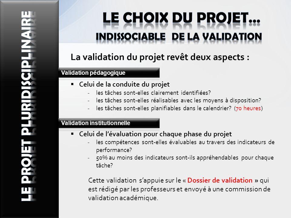 La validation du projet revêt deux aspects : Celui de la conduite du projet les tâches sont-elles clairement identifiées? les tâches sont-elles réalis