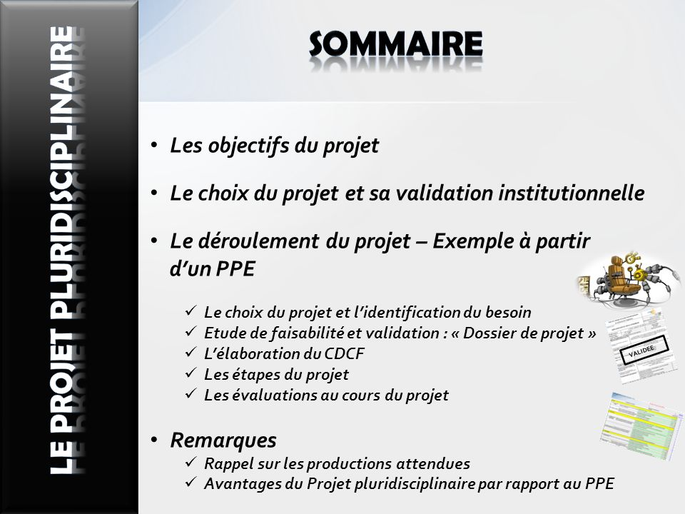 Les objectifs du projet Le choix du projet et sa validation institutionnelle Le déroulement du projet – Exemple à partir dun PPE Le choix du projet et