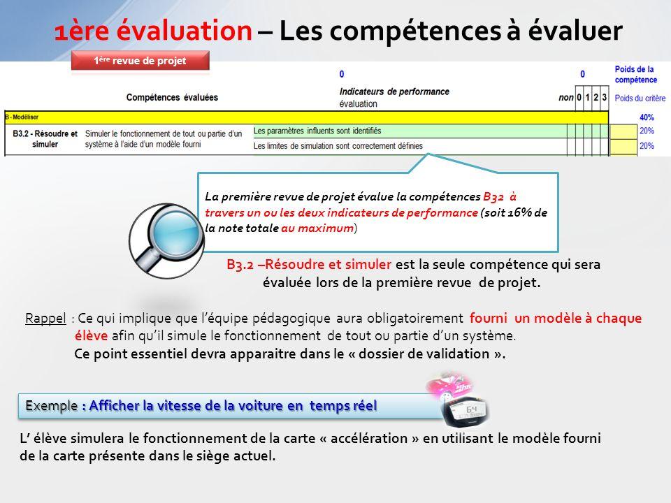 B3.2 –Résoudre et simuler est la seule compétence qui sera évaluée lors de la première revue de projet. Rappel : Ce qui implique que léquipe pédagogiq