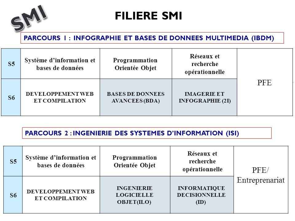 S5 Système dinformation et bases de données Programmation Orientée Objet Réseaux et recherche opérationnelle PFE S6 DEVELOPPEMENT WEB ET COMPILATION B