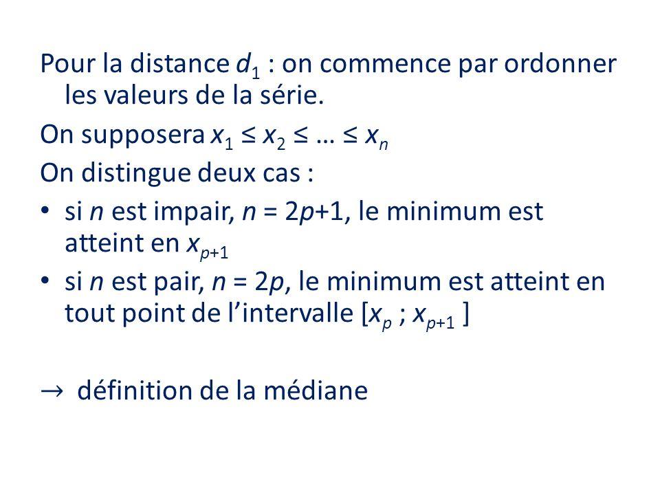 Pour la distance d 1 : on commence par ordonner les valeurs de la série. On supposera x 1 x 2 … x n On distingue deux cas : si n est impair, n = 2p+1,