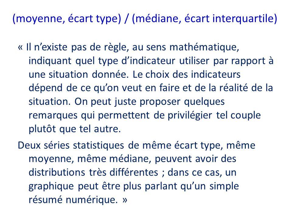 (moyenne, écart type) / (médiane, écart interquartile) « Il nexiste pas de règle, au sens mathématique, indiquant quel type dindicateur utiliser par r
