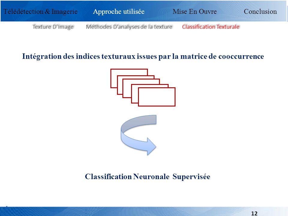 Télédétection & Imagerie Mise En Ouvre Conclusion Texture DImage Méthodes Danalyses de la texture Classification Texturale Intégration des indices tex
