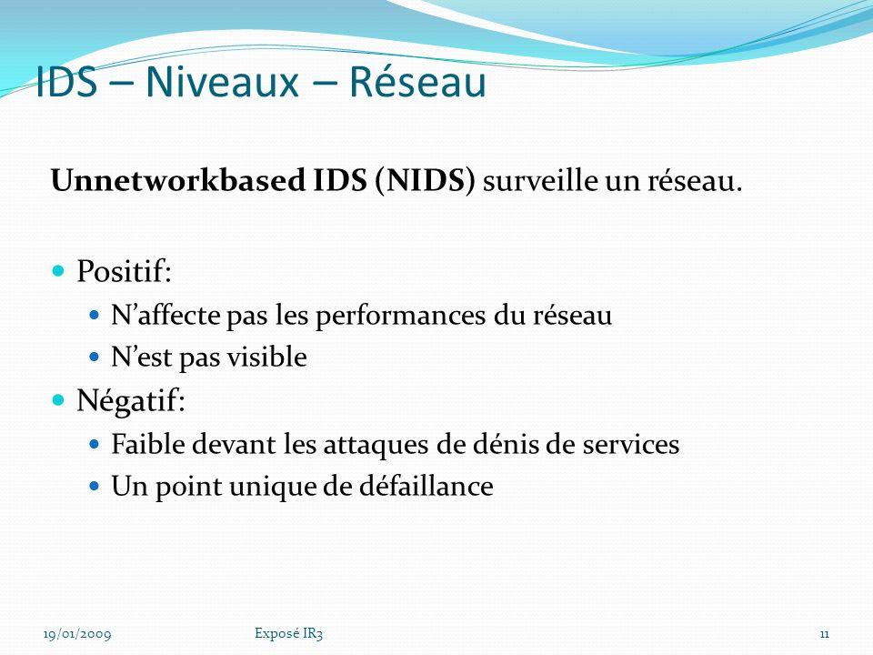 19/01/2009Exposé IR310 IDS – Détection-Bilan des solutions actuelles