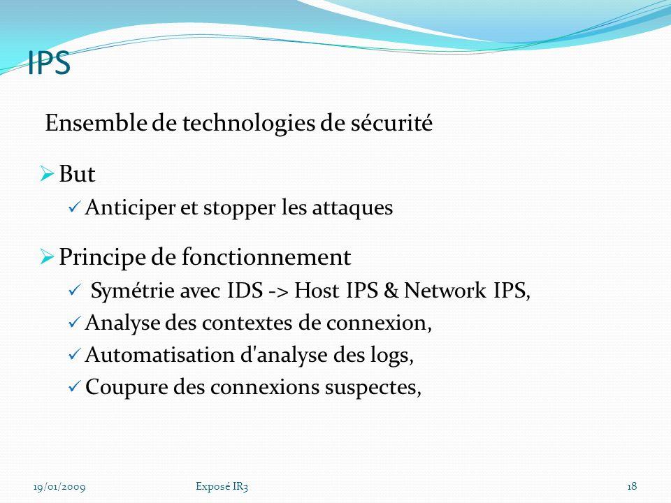 IDS – Niveaux – Système 19/01/200917Exposé IR3