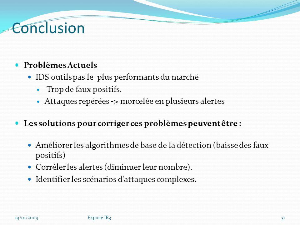 Solution IPS/IDS Libre 19/01/200930Exposé IR3
