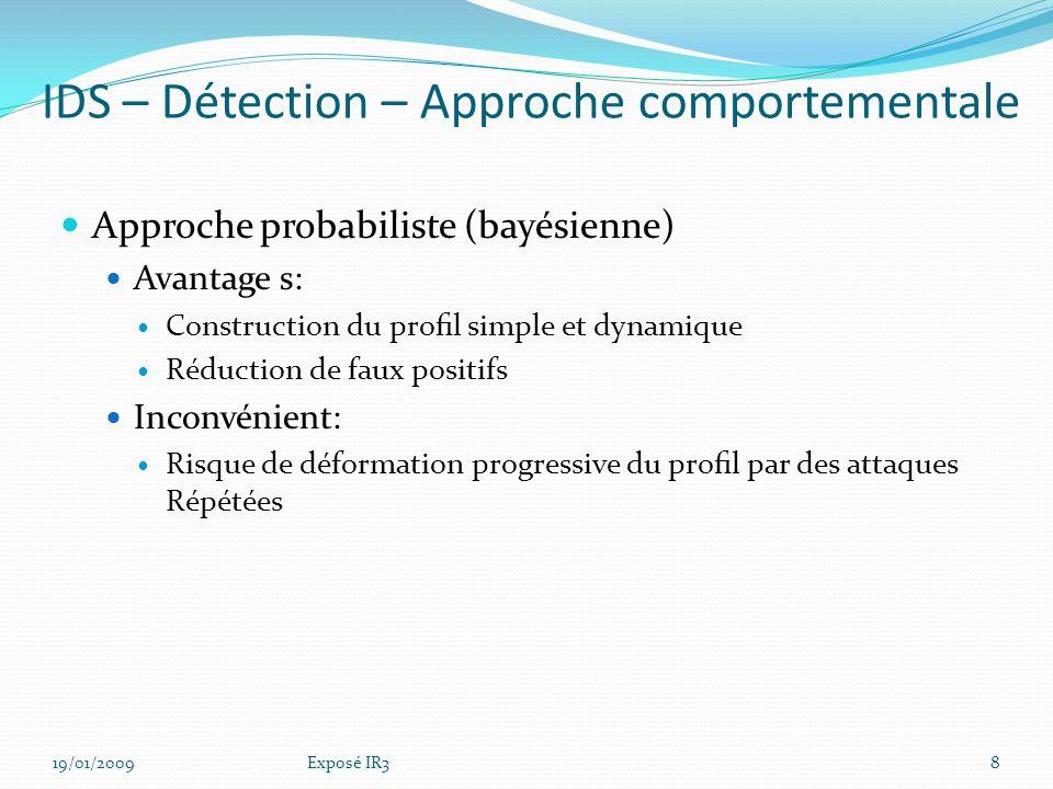 Connaître le comportement normal dun utilisateur Dresser les profils dutilisateurs Détecter une alerte lors des évènements hors gabarit IDS – Détection – Approche comportementale 19/01/20097Exposé IR3