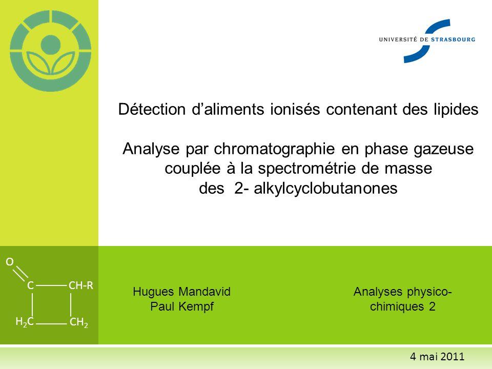 A NALYSE DES ALIMENTS IONISÉS Raison dêtre du protocole Méthode proposée Validation inter- laboratoire Méthodes alternatives Coûts de lanalyse Méthode testée par 5 laboratoires, quantification du 2-DCB dans poulet, ionisé à 0,5 Kgy, 3,0 kGy ou 5,0 kGy 2 faux-négatifs à 6 mois (Echantillons ionisés identifiés comme non ionisés) à 0,5 kGy 1 laboratoire na pas donné ses résultats après 6 mois