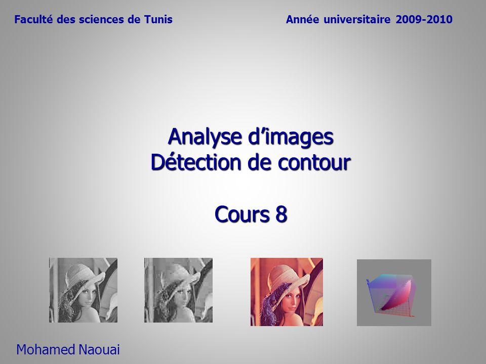 Analyse dimages Détection de contour Cours 8 Faculté des sciences de TunisAnnée universitaire 2009-2010 Mohamed Naouai
