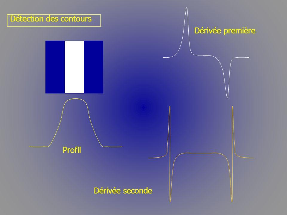 Détection des contours Profil Dérivée première Dérivée seconde