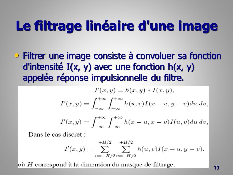 Le filtrage linéaire d'une image Filtrer une image consiste à convoluer sa fonction d'intensité I(x, y) avec une fonction h(x, y) appelée réponse impu