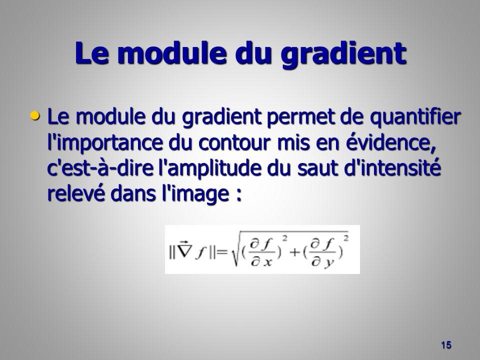 Le module du gradient Le module du gradient permet de quantifier l'importance du contour mis en évidence, c'est-à-dire l'amplitude du saut d'intensité