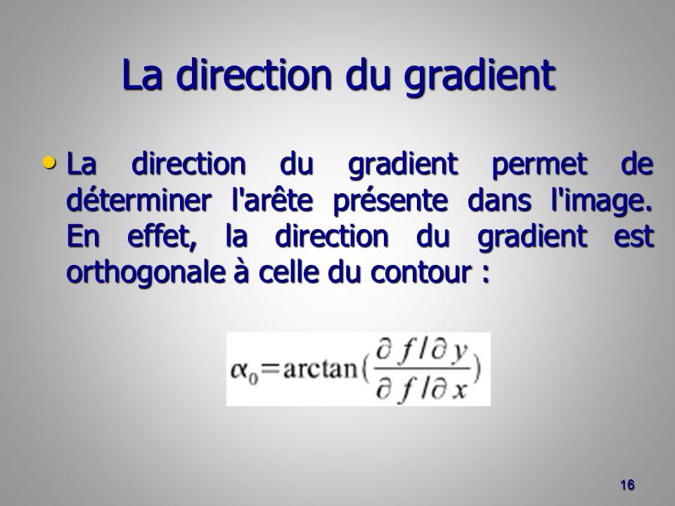 La direction du gradient La direction du gradient permet de déterminer l'arête présente dans l'image. En effet, la direction du gradient est orthogona