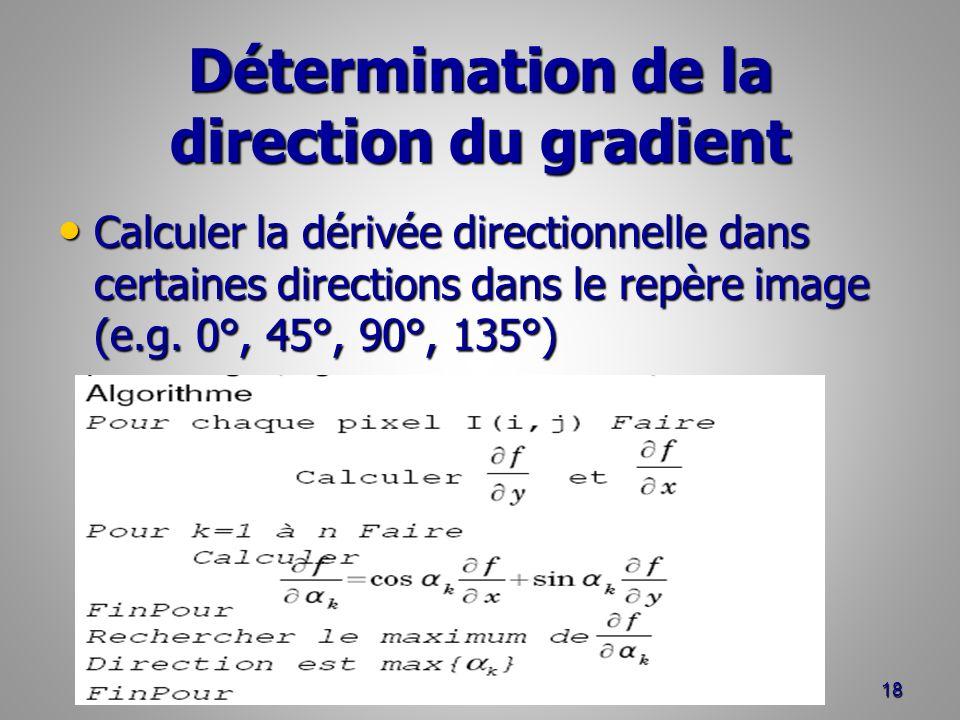 Détermination de la direction du gradient Calculer la dérivée directionnelle dans certaines directions dans le repère image (e.g. 0°, 45°, 90°, 135°)