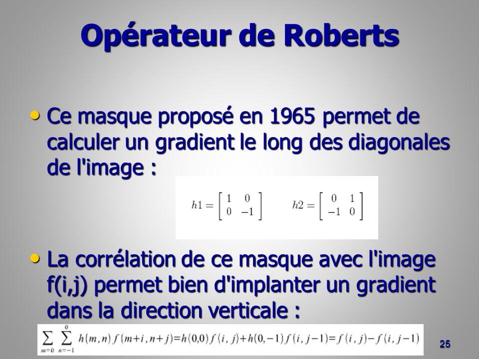 Opérateur de Roberts Ce masque proposé en 1965 permet de calculer un gradient le long des diagonales de l'image : Ce masque proposé en 1965 permet de