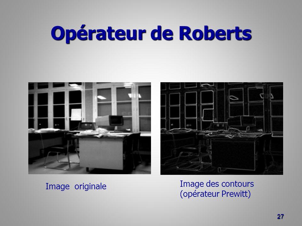 Opérateur de Roberts 27 Image originale Image des contours (opérateur Prewitt)