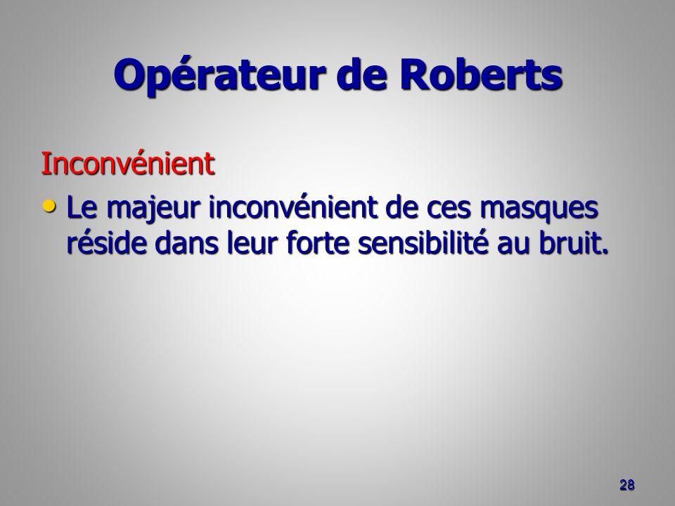 Opérateur de Roberts Inconvénient Le majeur inconvénient de ces masques réside dans leur forte sensibilité au bruit. Le majeur inconvénient de ces mas