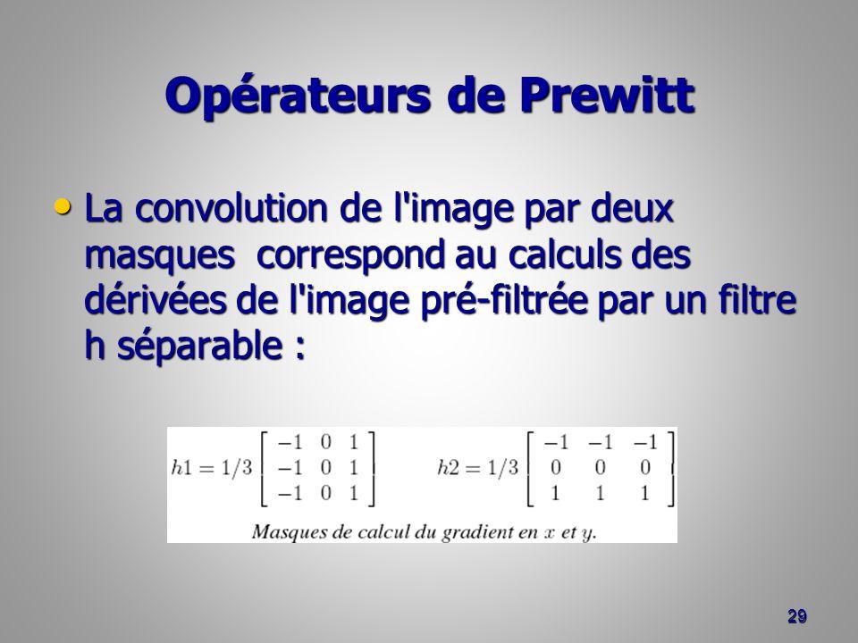 Opérateurs de Prewitt La convolution de l'image par deux masques correspond au calculs des dérivées de l'image pré-filtrée par un filtre h séparable :