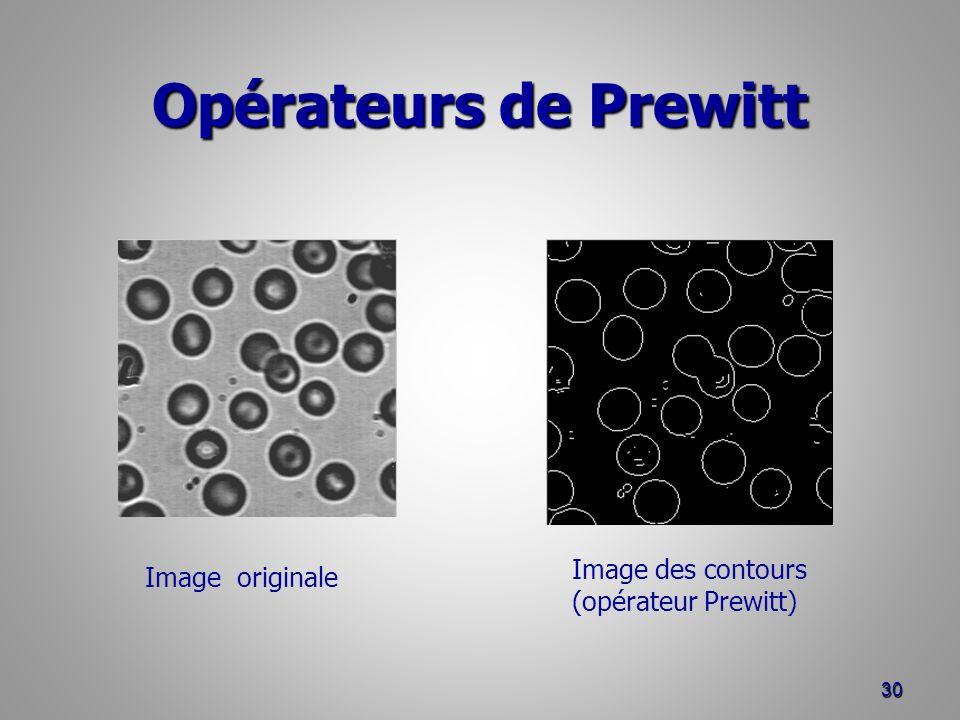 Opérateurs de Prewitt 30 Image originale Image des contours (opérateur Prewitt)