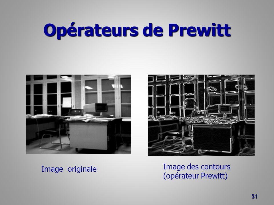 Opérateurs de Prewitt 31 Image originale Image des contours (opérateur Prewitt)