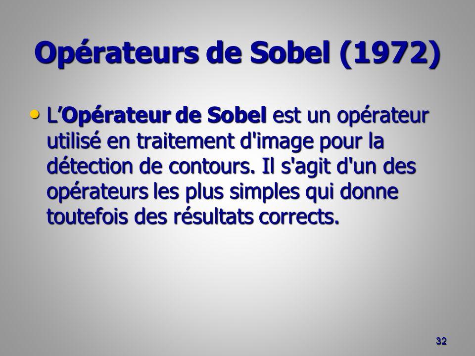 Opérateurs de Sobel (1972) LOpérateur de Sobel est un opérateur utilisé en traitement d'image pour la détection de contours. Il s'agit d'un des opérat