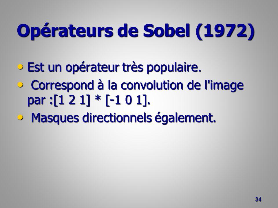 Opérateurs de Sobel (1972) Est un opérateur très populaire. Est un opérateur très populaire. Correspond à la convolution de l'image par :[1 2 1] * [-1