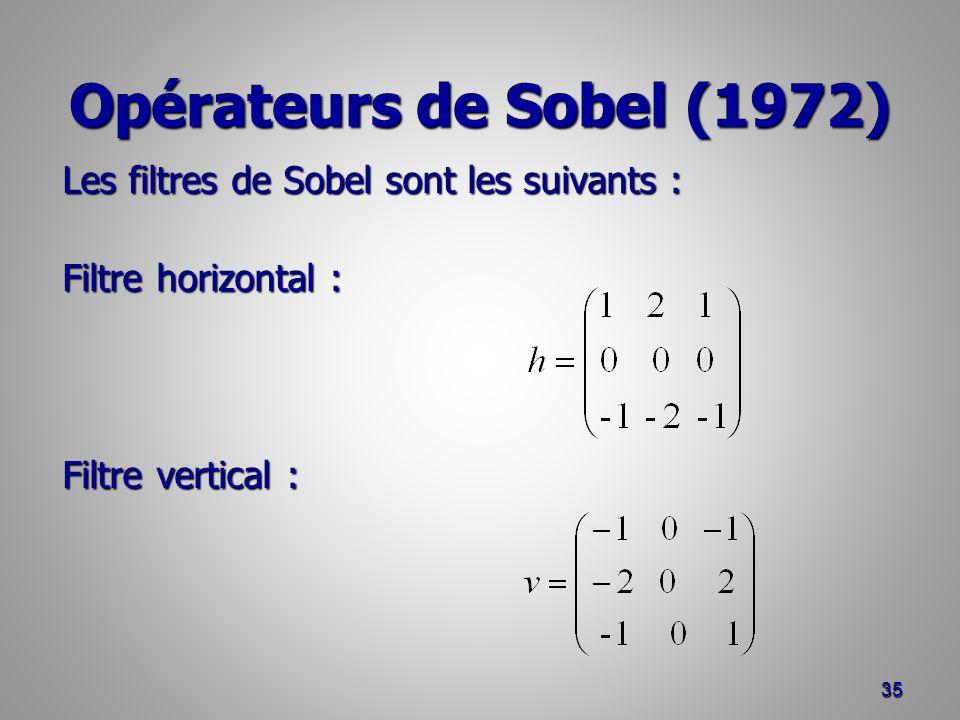Opérateurs de Sobel (1972) 35 Les filtres de Sobel sont les suivants : Filtre horizontal : Filtre vertical :